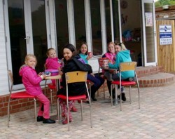 Outside at the Mad Hatters Cafe